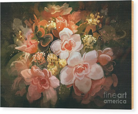 Beautiful Colors Of Flowers,digital Wood Print