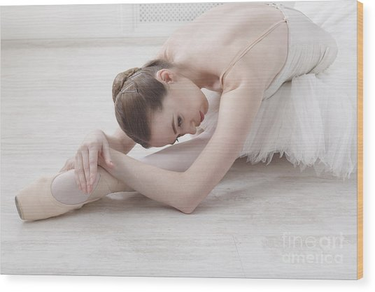 Beautiful Graceful Young Ballerina In Wood Print