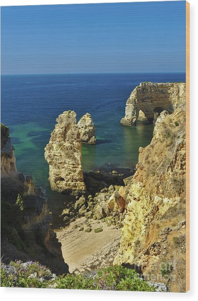 Beautiful Marinha Beach From The Cliffs Wood Print