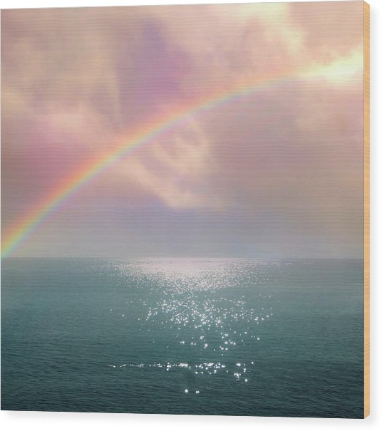 Beautiful Morning In Dreamland With Rainbow Wood Print