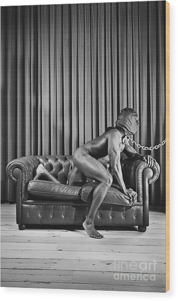Beautiful Naked Man With Mask Posing On A Sofa Wood Print