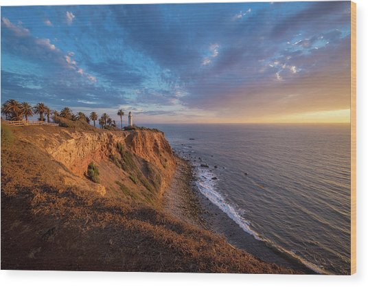 Beautiful Point Vicente Lighthouse At Sunset Wood Print