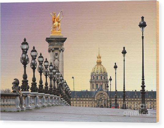 Beautiful Sunrise At The Pont Alexandre Wood Print