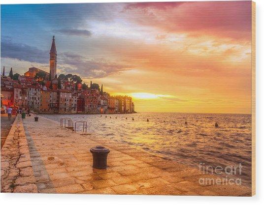 Beautiful Sunset At Rovinj In Adriatic Wood Print