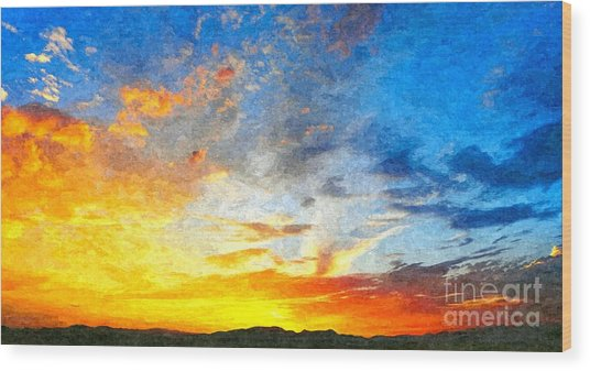 Beautiful Sunset In Landscape In Nature With Warm Sky, Digital A Wood Print