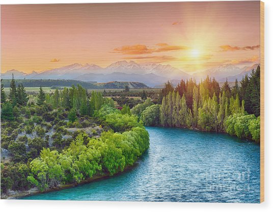 Beautiful Sunset Over The Bend Of The Wood Print