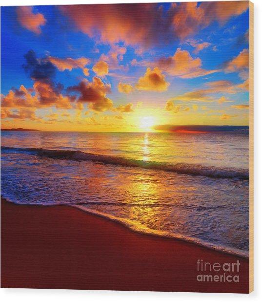 Beautiful Tropical Sunset On The Beach Wood Print