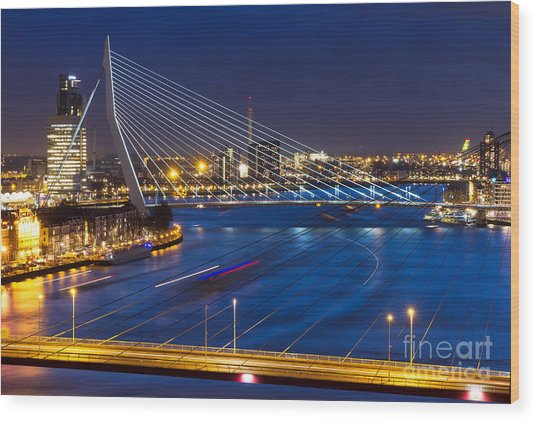 Beautiful Twilight View On The Bridges Wood Print