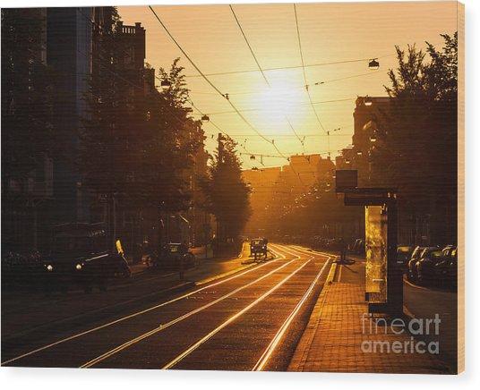 Beautiful Urban Sunrise In The City Of Wood Print