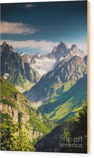 Beautiful Walley In Caucasus Mountains Wood Print