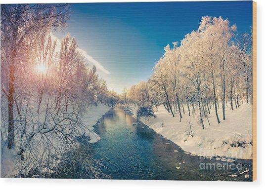 Beautiful Winter Sunrise In The City Wood Print