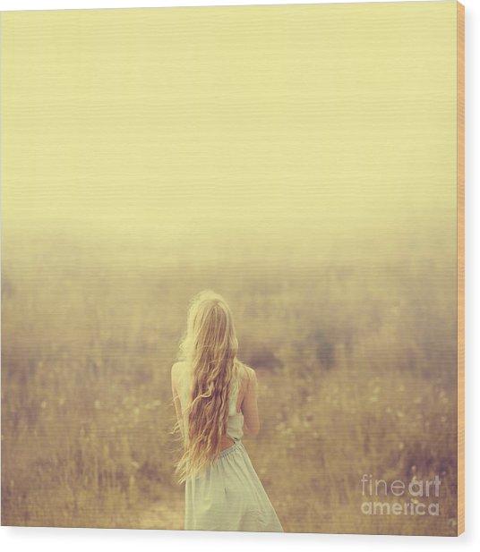 Beautiful Young Blond Woman Enjoying Wood Print