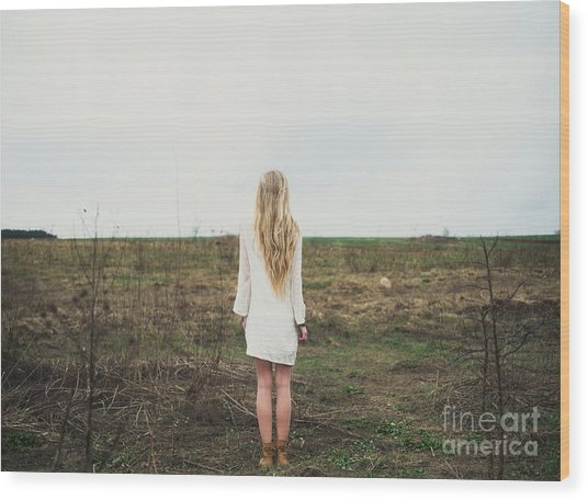 Beautiful Young Girl In The Spring Wood Print