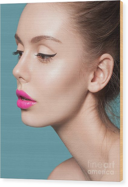 Beautiful Young Woman With Pink Lips Wood Print