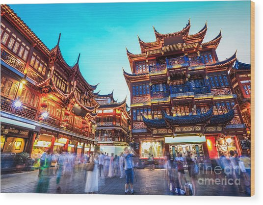 Beautiful Yuyuan Garden At Wood Print