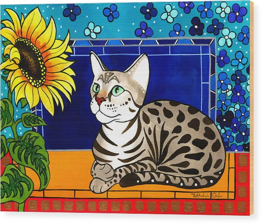 Beauty In Bloom - Savannah Cat Painting Wood Print
