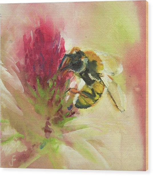 Bee On Clover Wood Print