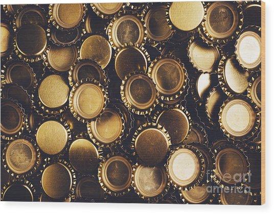 Beer Bottle Caps Piled Wood Print