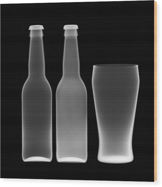 Beer Bottles And Drinking Glass Wood Print