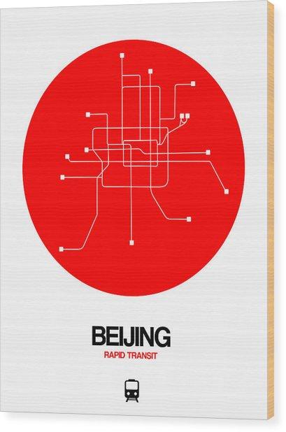 Beijing Red Subway Map Wood Print