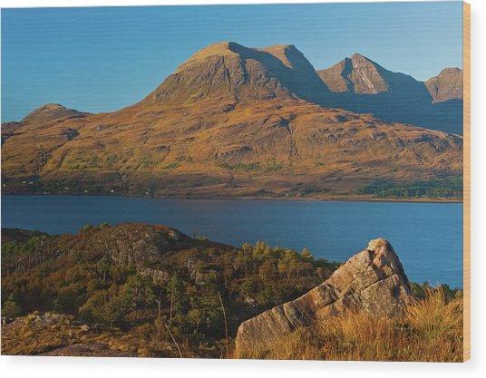 Beinn Alligin And Loch Torridon Wood Print by David Ross