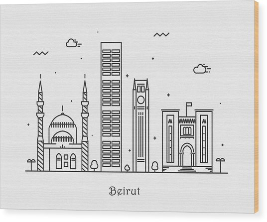 Beirut Cityscape Travel Poster Wood Print