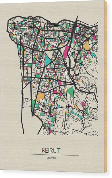 Beirut, Lebanon City Map Wood Print