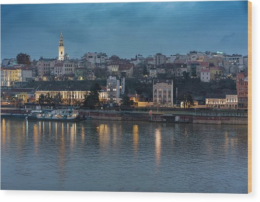 Belgrade Skyline And Sava River Wood Print