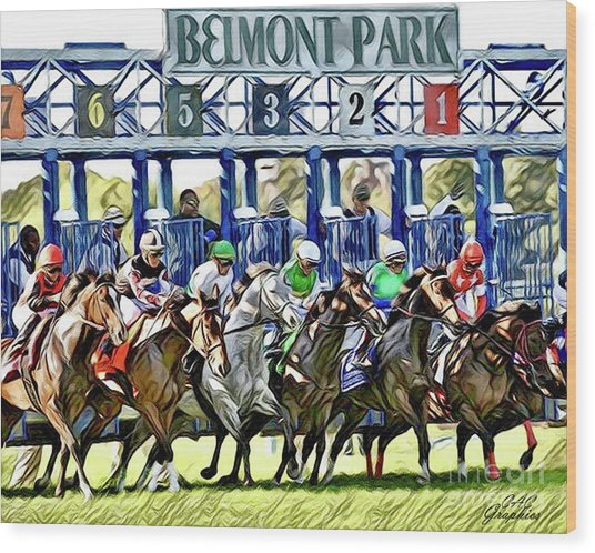 Belmont Park Starting Gate 1 Wood Print