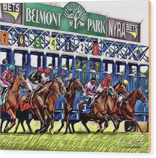 Belmont Park Starting Gate 2 Wood Print
