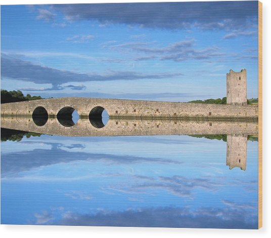 Belvelly Castle Reflection Wood Print