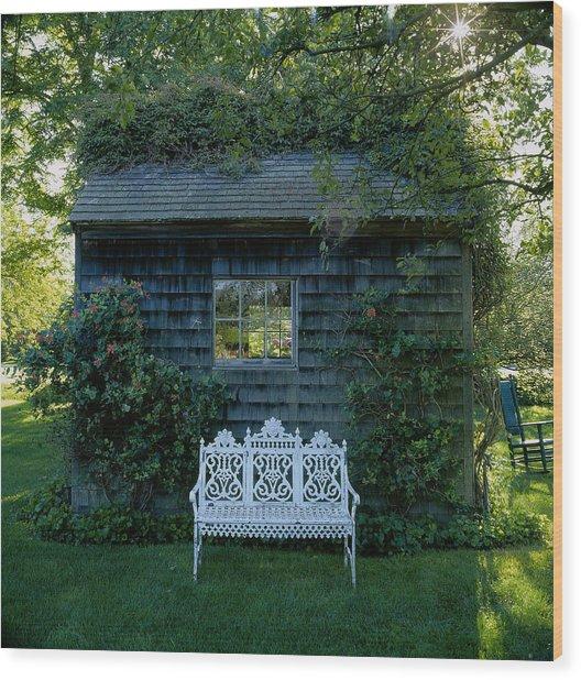 Bench Infont Of Cottage, East Hampton Wood Print