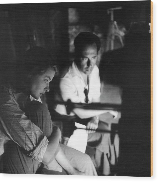 Bergman & Rossellini In Italy For Wood Print by Gordon Parks