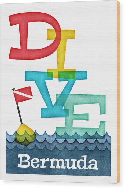 Bermuda Dive - Colorful Scuba Wood Print