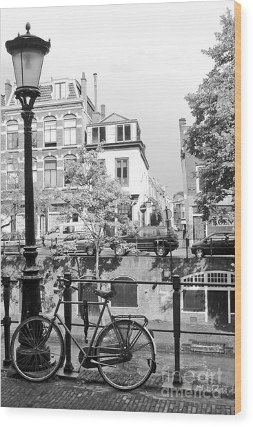 Bicycle And Lamp The Netherlands Wood Print