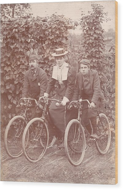 Bicycle Ride Wood Print by Hulton Archive