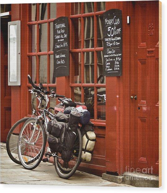 Bicycles On The British Pub, Durham Wood Print