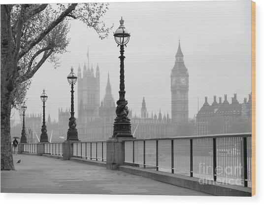 Big Ben & Houses Of Parliament, Black Wood Print
