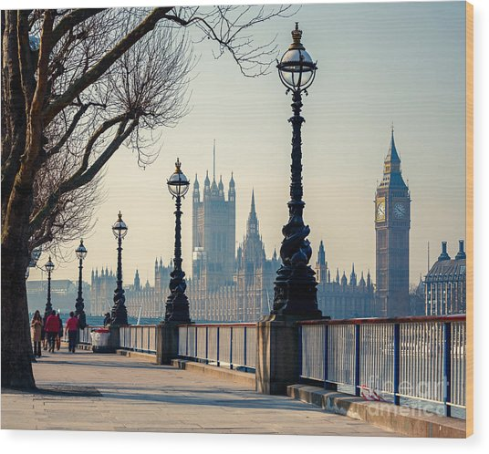 Big Ben And Houses Of Parliament In Wood Print