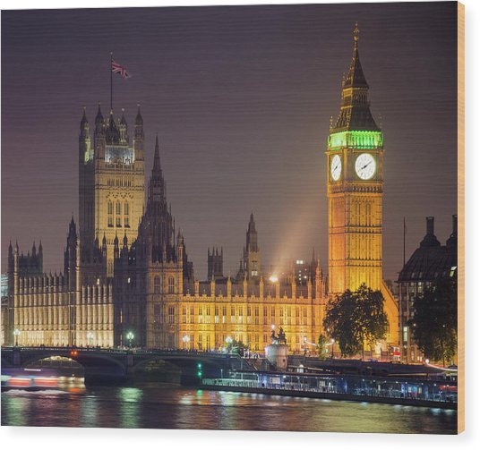 Big Ben At Night, London Wood Print by Cescassawin