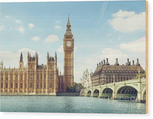 Big Ben In Sunny Day, London Wood Print