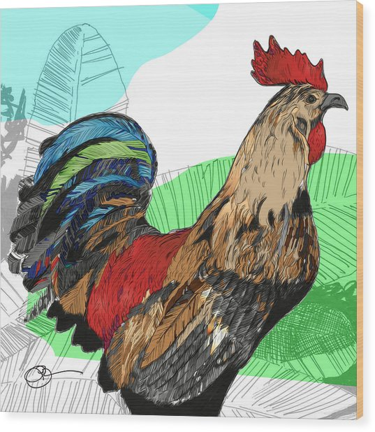 Wood Print featuring the digital art Big Island Rooster 2 by Lucas Boyd