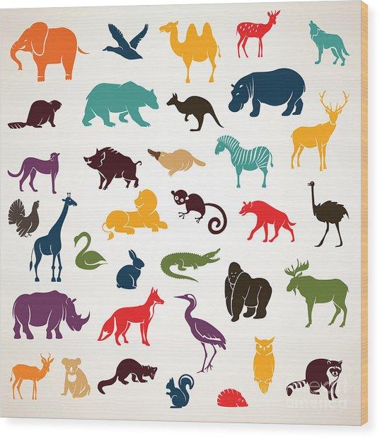 Big Set Of African And European Animals Wood Print
