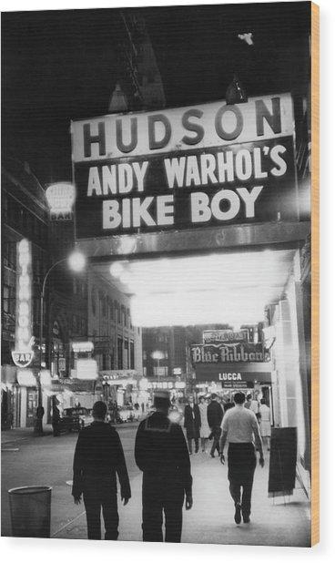 Bike Boy At The Hudson Theatre Wood Print by Fred W. McDarrah
