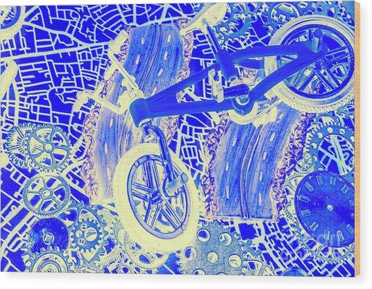 Biking Blue Wood Print