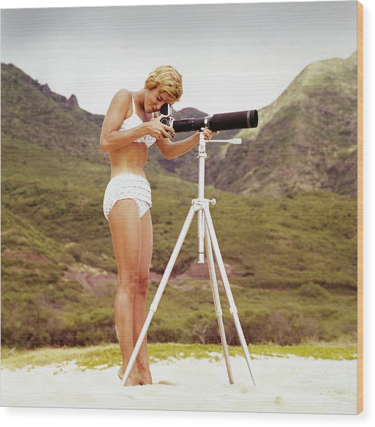 Bikini Girl And Camera Wood Print by Tom Kelley Archive