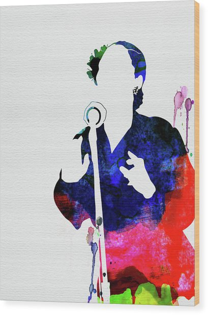 Billie Holiday Watercolor Wood Print