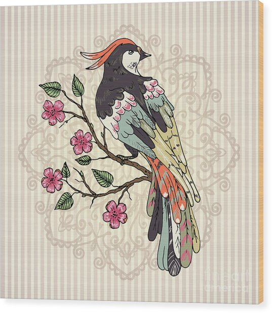 Bird On A Branch Vector Illustration Wood Print