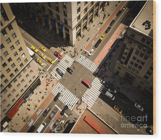Birds Eye View Of Manhattan, Looking Wood Print by Heather Shimmin