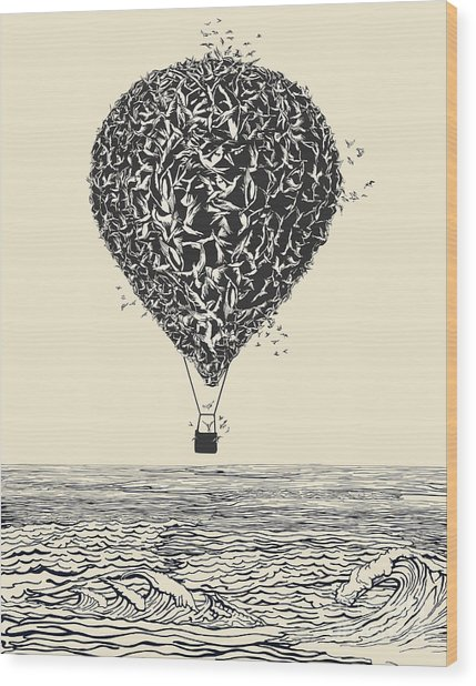 Birds Flock In Balloon Formation Flying Wood Print by Ryger